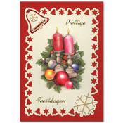 kerst borduurkaart met kandelaars