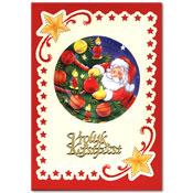 kerst borduurkaart met kerstman