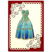 borduurkaart met fashion jurk