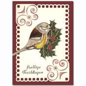 borduurkaart met  kerst vogel