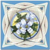 borduurkaart met  bloemen
