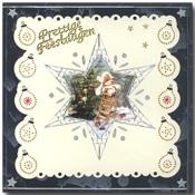 kerst borduurkaart met ster en kerstballen