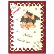 kerst borduurkaart met kerst kerstbellen