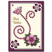 Bloemenkaart met strass-stickers