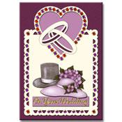 Huwelijkskaart met strass-stickers