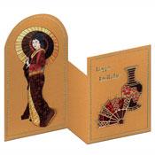 Verjaardagskaart met geisha en vaas