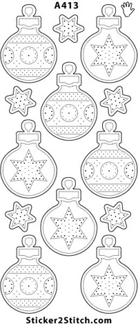 A413 embroidery sticker christmas bauble