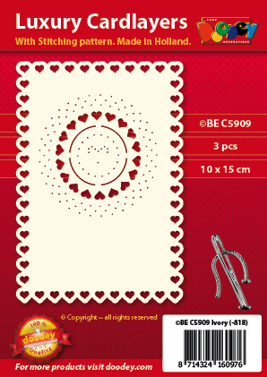BEC5909 Luxury card layer stitch A6 layer hearts in circle