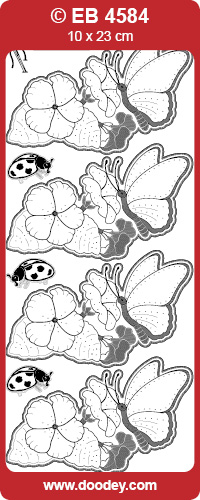 EB4584 embroidery sticker butterfly with petunia