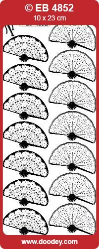EB4852 embroidery sticker fan small