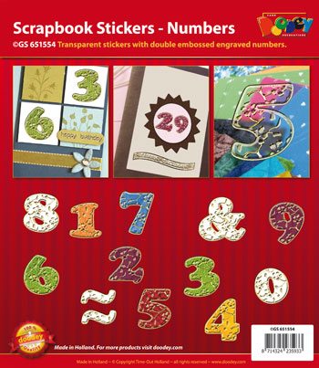 GS651554 Scrapbook stickers ABC floral Numbers