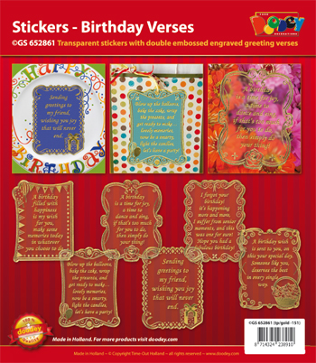 GS652861 Scrapbook stickers Birthday verses