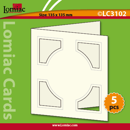LC3102 5 die-cut cards square with circel
