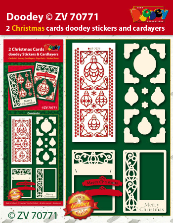 ZV70771 Christmas cards with doodey stickers and cardlayers