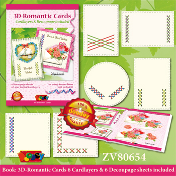 ZV80654 Set Book with decoupage sheets and 6 Luxury Cardlayers - Romantic Ribbon Cards by Natasja