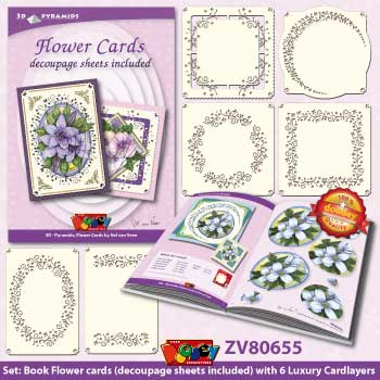 ZV80655 Set Book with decoupage sheets and 6 Luxury Cardlayers 3D-Pyramids Flowers