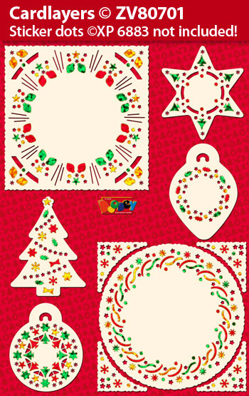 ZV80701 Set Christmas cardlayers for Holographic Sticker dots XP6883