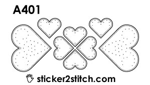 A401 embroidery sticker heart