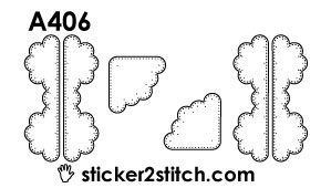 A406 embroidery sticker border corner clouds