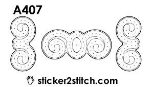 A407 embroidery sticker border curl