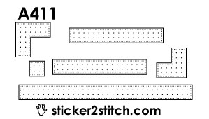 A411 embroidery sticker border corner straight