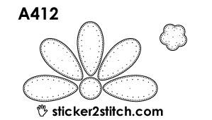 A412 borduursticker bloem