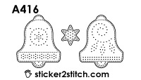 A416 embroidery sticker christmas bell
