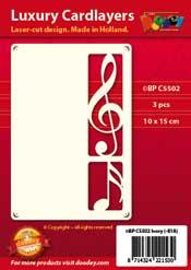 BPC5502 Luxe oplegkaart A6 muziek noten met vioolsleutel