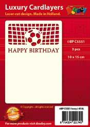 BPC5551 Luxe oplegkaart A6 voetbal happy birthday