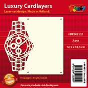 BPM5121 Luxe oplegkaart 13,5 x 13,5 cm horloge