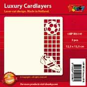 BPM5141 Luxe oplegkaart 13,5 x 13,5 cm voetbal