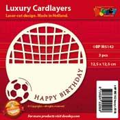 BPM5142 Luxe oplegkaart 13,5 x 13,5 cm voetbal