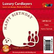 BPM5147 Luxe oplegkaart 13,5 x 13,5 cm bowling