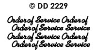 DD2229 Order of Service