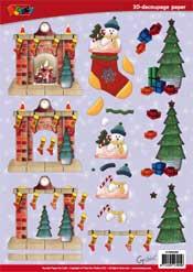DV92502 3D knipvel Open haard Kerstmis