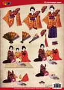 DV92503 3D knipvel geisha theeceremonie oriental
