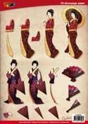DV92504 3D knipvel geisha parasol oriental