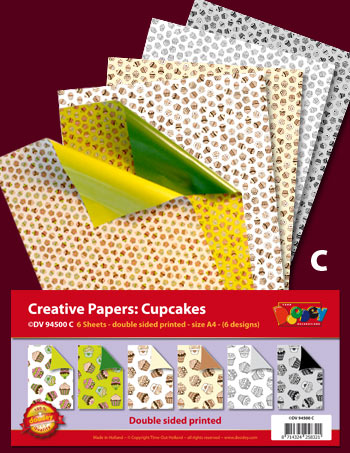 DV94500C Cupcake Bumper pack double sided patterned papers A4