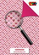 DV94504 Achtergrondvel cupcake roze