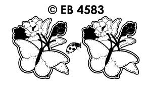 EB4583 borduursticker vlinder met klaproos