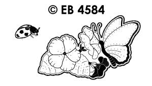 EB4584 borduursticker vlinder met petunia