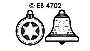 EB4702 borduursticker kerst bal klok