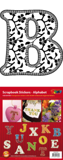 GS651553 Scrapbook stickers ABC floral Initials