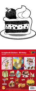GS656411 Scrapbook stickers Verjaardag