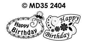 MD352404 Happy Birthday Labels Flowers2