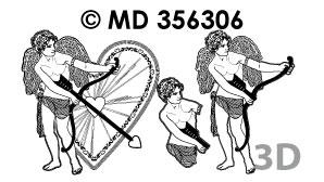 MD356306 3D Liefde Cupido Pijl en Boog