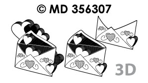 MD356307 3D Liefde hartjes uit envelop