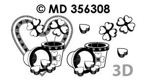 MD356308 3D Liefde Hartjesbloemen