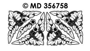 MD356758 Hoeken tak met blaadjes