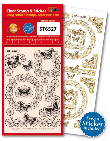 ST6527 Clear Stamps Frame blossom butterfly